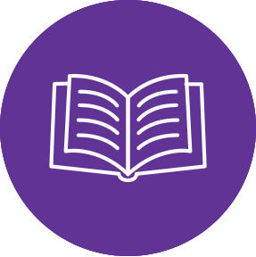 Icon of book representing resources
