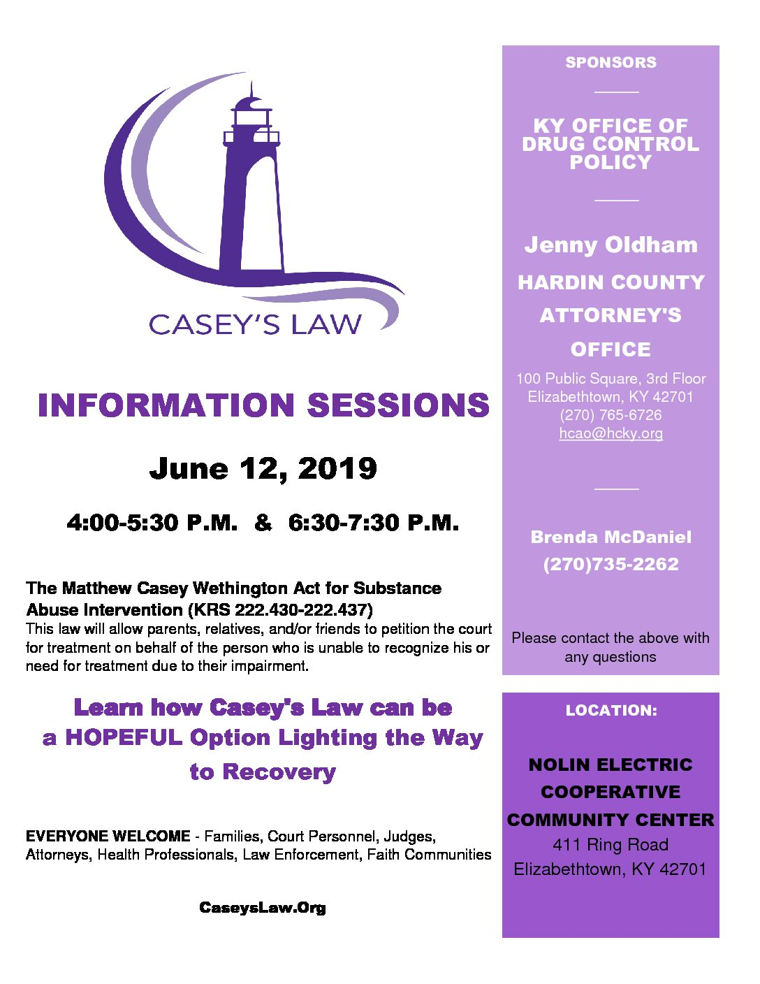 Information Session – Casey's Law